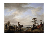 Landscape with a Gentleman on Horseback Fording a Stream Giclee Print by Philips Wouwermans Or Wouwerman