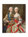 Portrait of Catherine the Great (1729-96) and Prince Petr Fedorovich (1728-62) 1740-45 Giclee Print by Georg Christoph Grooth