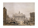 Royal Exchange and the Bank of England, Pub. 1852 by Lloyd Bros. and Co. Giclee Print by Edmund Walker