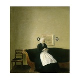 Interior with the Artist's Mother, 1889 Giclee Print by Vilhelm Hammershoi