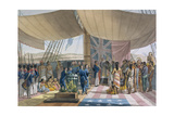 The Sandwich Islands: the Christening of the King's Prime Minister on Board the 'Uranie', from… Giclee Print by Jacques Etienne Victor Arago
