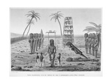 Sandwich Islands: View of the Morai of the King, at Kayakakoua on the Island of Owhyhi, from… Giclee Print by Jacques Etienne Victor Arago