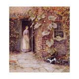 Feeding the Kitten Giclee Print by Helen Allingham