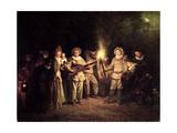 The Italian Comedy, C.1716 Giclée-tryk af Jean Antoine Watteau