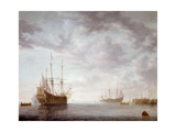 Dutch Men-O-War at Anchor, C.1650 Giclee Print by Simon Jacobsz. Vlieger