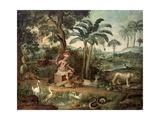 Native Indian in a Landscape with Animals Giclée-tryk af Jose Teofilo de Jesus