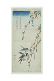 Swallows and Peach Blossom in Moonlight Giclee Print by Ando Hiroshige
