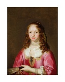 Portrait of a Girl in a Pink Dress Holding a Fan Giclee Print by Govaert Flinck