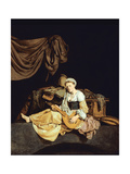 Young Woman Playing a Mandolin Giclee Print by Cornelis Bega