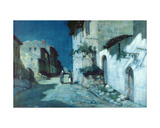 Spanish Village Conversation by Moonlight Giclee Print by Albert Moulton Foweraker