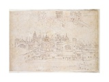 Studies of Palace of Oatlands and Hampton Court, C.1544 Giclee Print by Anthonis van den Wyngaerde