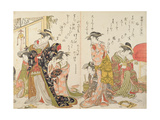Courtesans at Leisure from the 'Autographs of Yoshiwara Beauties', C.1780 Giclee Print by Kitao Masanobu