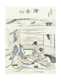 Two Couples in an Interior Giclee Print by Katsushika Hokusai