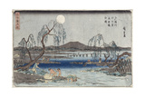 Catching Fish by Moonlight on the Tama River, from a Series 'snow, Moon and Flowers' ('settsu… Giclee Print by Ando or Utagawa Hiroshige