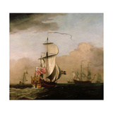 The Second Duke of Albemarle's Ketch with a Yacht Giclee Print by Willem Van De Velde The Younger