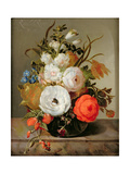 Still Life of Flowers in a Glass Vase, 1742 Giclee Print by Rachel Ruysch
