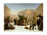 Selling Christmas Trees, 1853 Lámina giclée por David Jacobsen
