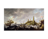 Seascape with a Lighthouse Giclee Print by Bonaventura Peeters