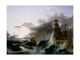Boat by a Lighthouse, a Squall Going Off Giclee Print by Francis Danby