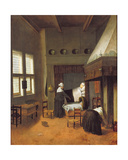 Bedroom Interior with Mother and New-Born Child Lámina giclée por Jacobus Vrel or Frel