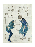 Book Illustration Depicting Two Characters Giclee Print by Katsushika Hokusai