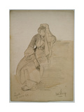 Study of a Seated Lady, Nazareth, 1859 Giclee Print by Carl Haag