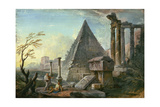 Pyramid of Caius Cestius at Rome Giclee Print by Jean-Baptiste Lallemand