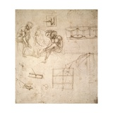 Studies of Figures and of Machinery Giclee Print by  Leonardo da Vinci