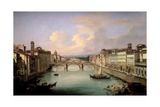 Florence from the Ponte Vecchio Giclee Print by Giovanni Signorini