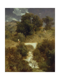 Roman Landscape with a Bridge, 1863 Giclee Print by Arnold Bocklin