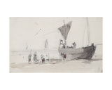 Fishing Boat on the Beach Giclee Print by Eugène Boudin
