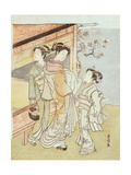 A Lady and Her Attendant Meet a Messenger Giclee Print by Suzuki Harunobu