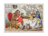 John Bull Taking a Luncheon, or British Cooks, Cramming Old Grumble-Gizzard with Bonne-Chere,… Giclée-tryk af James Gillray