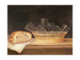 Basket of Glasses and a Meat Pie, before 1630 Giclee Print by Sebastian Stoskopff