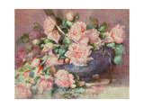 A Bowl of Pink Roses Giclee Print by Melicent Grose
