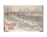 The Timber Chute, Winter Scene, from 'A Home' Series, C.1895 Giclee Print by Carl Larsson