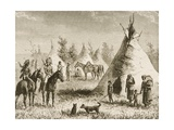 A Sioux Village, C.1880 Giclee Print by Reverend Samuel Manning