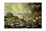 A Harbour Scene, Possibly Genoa Giclee Print by Andries van Eertvelt