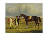 'Euclid' with His Jockey Conolly and Trainer Pettit Giclee Print by John Frederick Herring Snr