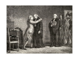 King LouisXVI (1754-93) Meets with De Malesherbes (1721-94) Giclee Print by H. de la Charlerie