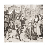 St. Remy, Bishop of Reims Begs of King Clovis (465-511) the Return of a Sacred Vase Stolen by the… Giclee Print