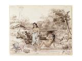 Tahitians Bathing, 1844 Giclee Print by Charles Giraud