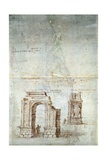 Sketches of Roman Ruins at Tarragona, 16th Century Giclee Print by Anthonis van den Wyngaerde