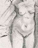 Knee Length Study of a Nude Woman Fotografisk tryk af Jacopo da Carucci Pontormo