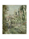 Young Boy in the Hollyhocks Giclee Print by Berthe Morisot
