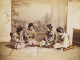 Japanese Women Playing Cards, C.1867-90 Photographic Print by Felice Beato