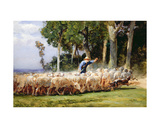A Shepherd with a Flock of Sheep Giclee Print by Charles Emile Jacques