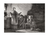 Louis Xvi (1754-93) at Prayer before His Execution Giclee Print by H. de la Charlerie