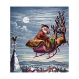 Visit of St. Nicholas, Illustration from 'Aunt Louisa's Big Picture Series', New York 1871 Impression giclée