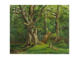 Woodland Scene with Rabbits, 1862 Giclee Print by Hubert von Herkomer